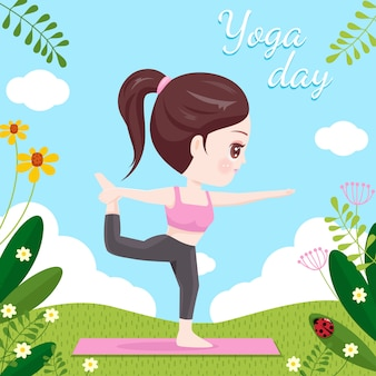 Mulheres fazendo yoga na primavera