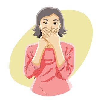 Mulheres fechadas ou cobrindo a boca