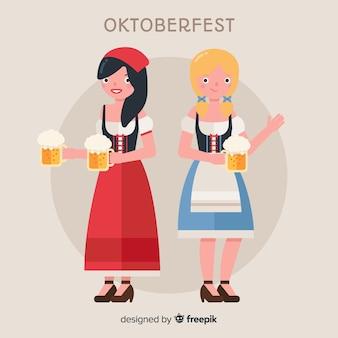 Mulheres felizes, celebrando a oktoberfest com design plano