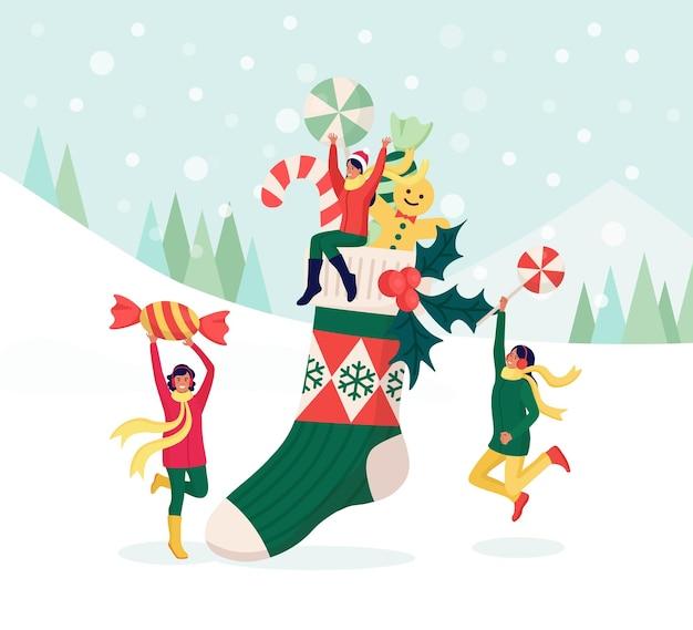 Mulheres felizes, comemorando a festa de natal. personagens femininos colocam presentes, doces na meia vermelha grande. preparação para as férias de inverno. véspera de natal. feliz natal e ano novo