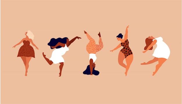 Mulheres felizes. corpo positivo, ame a si mesmo, o seu conceito de corpo. liberdade feminina, poder feminino ou ilustração do dia da mulher internacional.