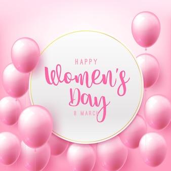 Mulheres felizes dia 8 de março caligrafia de texto com lindo balão voador Vetor Premium