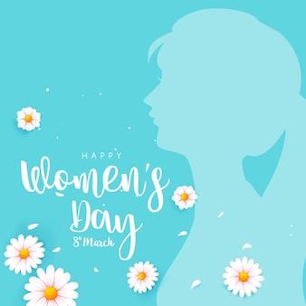 Mulheres felizes dia 8 de março caligrafia de texto com uma linda flor