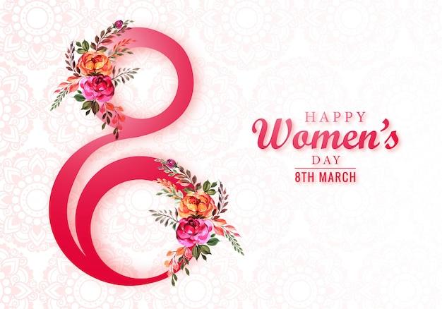 Mulheres felizes dia 8 de março cartão comemorativo