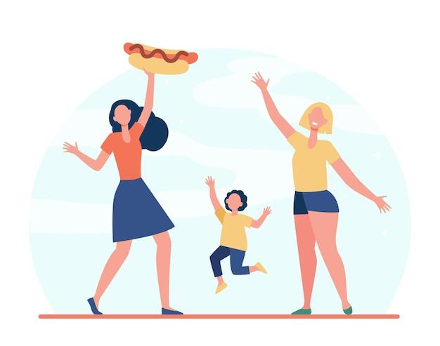 Mulheres felizes e menina com cachorro-quente. refeição, rua, ilustração plana de junk food.