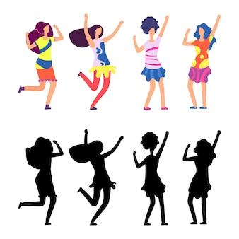 Mulheres felizes em roupas brilhantes. personagem de desenho animado feminino hippie