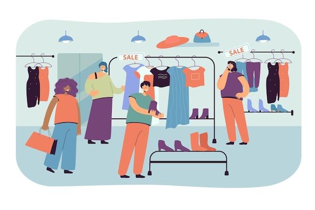 Mulheres felizes escolhendo roupas em ilustração plana de loja.