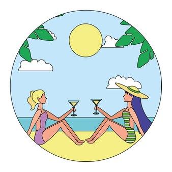 Mulheres felizes na concepção de ilustração vetorial de praia