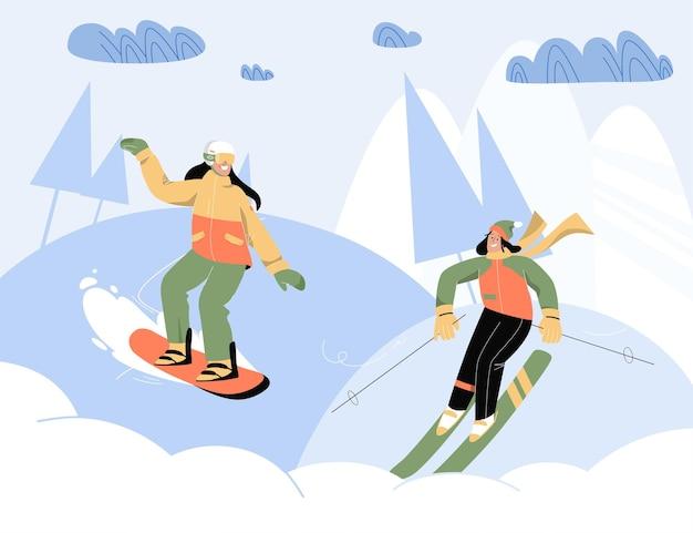 Mulheres felizes praticando esportes de inverno ao ar livre