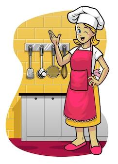 Mulheres felizes usando avental na cozinha
