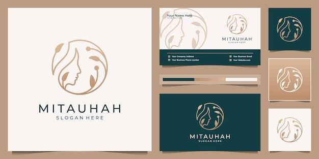 Mulheres femininas de beleza enfrentam design de logotipo e cartão de visita.
