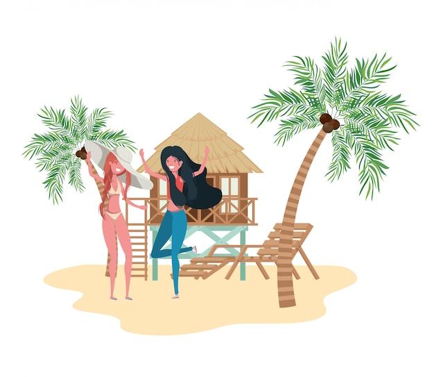 Mulheres, ficar, praia, com, casa praia