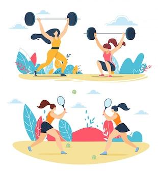 Mulheres fortes com barris e jogando tênis