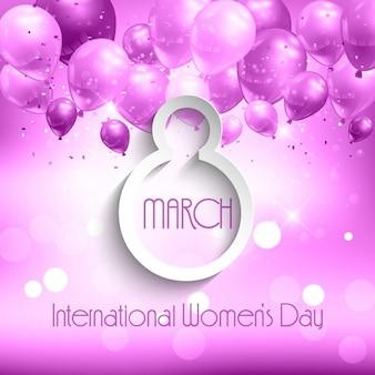 Mulheres fundo do dia com balões cor de rosa