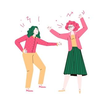 Mulheres furiosos brigando e brigando desenho ilustração isolada.