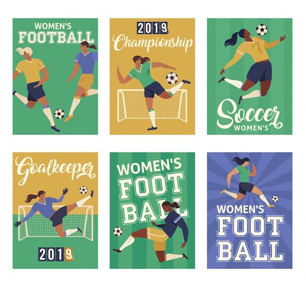 Mulheres futebol jogadores de futebol, conjunto de cartazes.