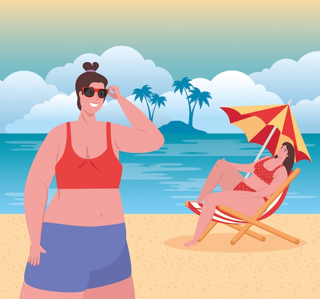 Mulheres gordas bonitos em traje de banho na praia, mulheres do grupo felizes na temporada de férias de verão