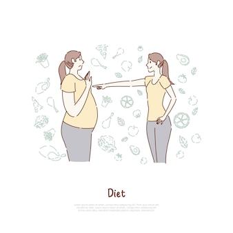 Mulheres gordas e magras