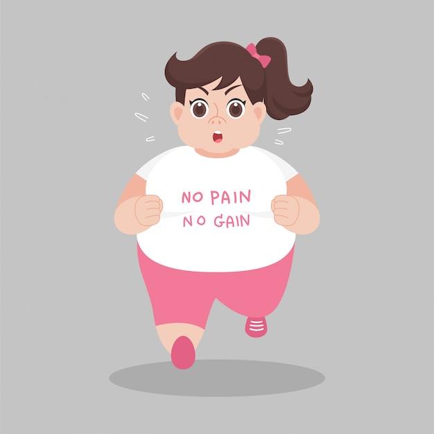 Mulheres gordas grandes correndo querem perder peso