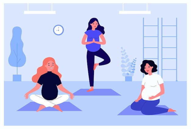 Mulheres grávidas felizes fazendo exercícios de ioga em esteiras. personagens femininas com barrigas em pé e sentado em ilustração vetorial plana de poses de ioga. gravidez, conceito de fitness para banner ou design de site