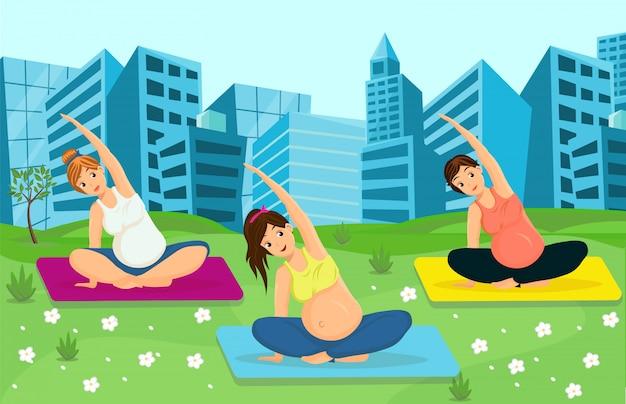 Mulheres grávidas malhando