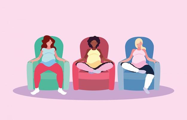 Mulheres grávidas sentadas no personagem de avatar de sofá