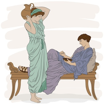 Mulheres gregas antigas em túnicas conversam no quarto