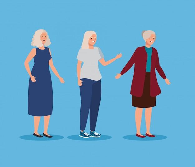 Mulheres idosas bonitos com penteado