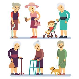 Mulheres idosas cartum conjunto de caracteres. senhoras seniores em situação diferente