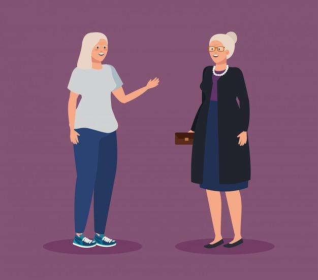 Mulheres idosas com penteado e roupas casuais