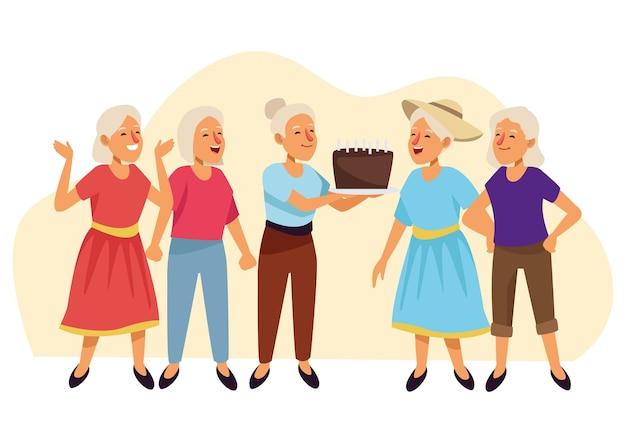 Mulheres idosas com personagens de idosos ativos de bolo doce.