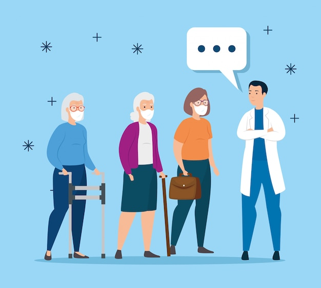 Mulheres idosas com proteção respiratória falando de médico
