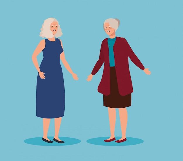 Mulheres idosas com roupas casuais e penteado