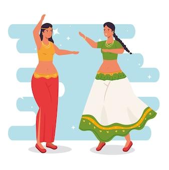 Mulheres indianas com roupas de dança tradicional design de ilustração