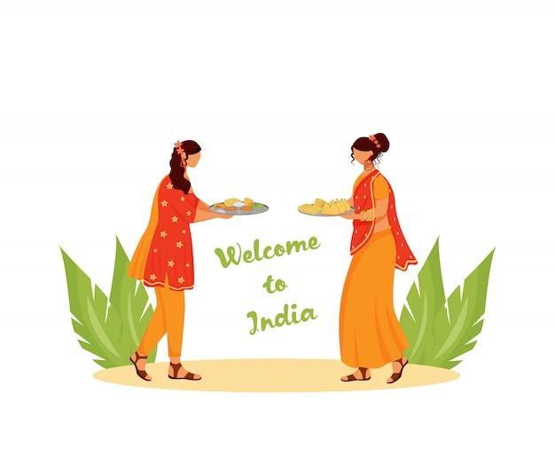 Mulheres indianas vestindo sari caracteres sem rosto de cor plana. bem-vindo à índia, mulheres com refeições tradicionais