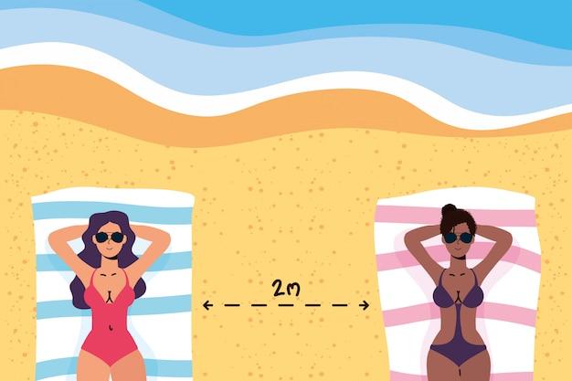 Mulheres inter-raciais na praia praticando cena social de distanciamento, férias de verão