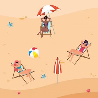 Mulheres inter-raciais na praia praticando distância social