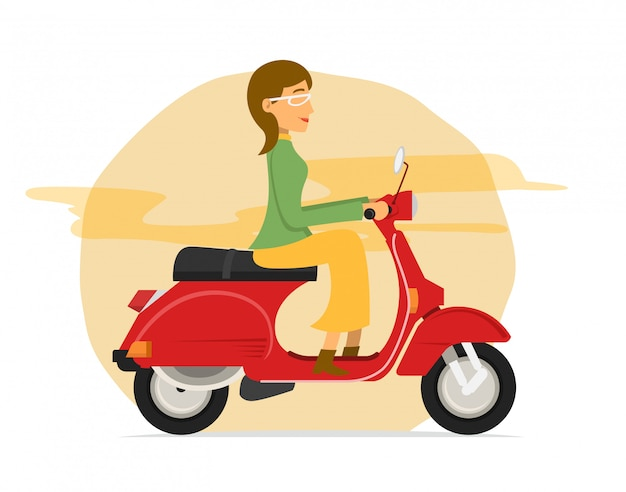 Mulheres jovens, andar de moto scooter