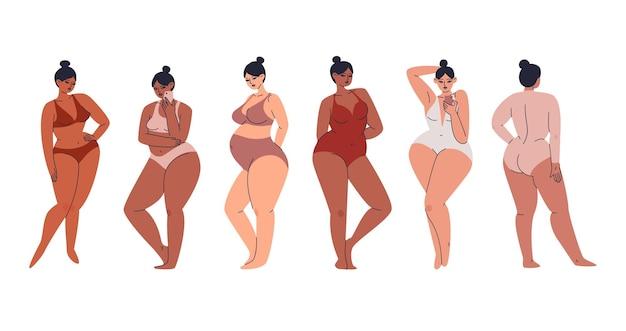 Mulheres jovens bonitas em lingerie. um grupo de mulheres curvilíneas está de pé em uma fileira com telefones nas mãos.
