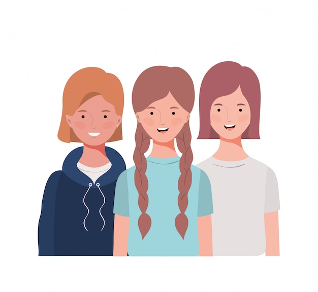 Mulheres jovens, branco