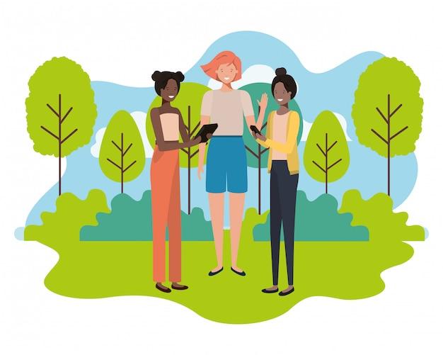 Mulheres jovens com caráter de avatar de paisagem