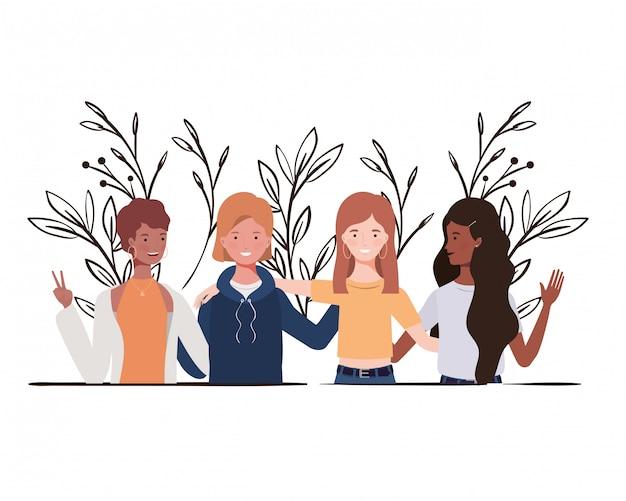 Mulheres jovens, com, paisagem, ilustração