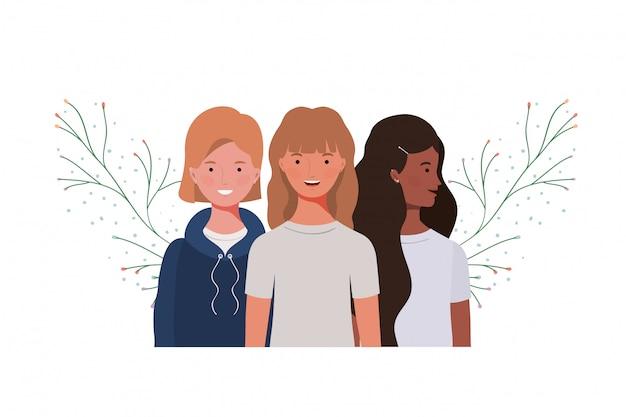 Mulheres jovens, com, ramos, e, folhas