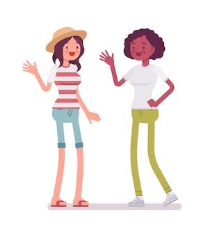 Mulheres jovens, cumprimentando e acenando