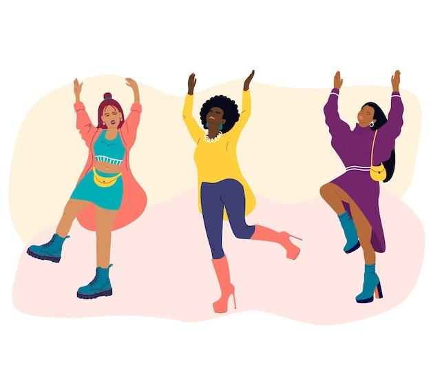 Mulheres jovens de diferentes nacionalidades dançam. meninas com roupas da moda se divertem em uma festa. ilustração em vetor plana dos desenhos animados. dia internacional da mulher