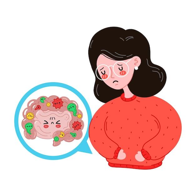 Mulheres jovens doentes e tristes com problema de microflora intestinal. design de ícone de ilustração vetorial plana dos desenhos animados. isolado em um fundo branco. trato digestivo, bactérias nocivas, dor de estômago, dor, doença, conceito de dor