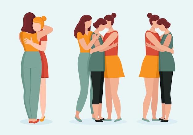 Mulheres jovens em abraços