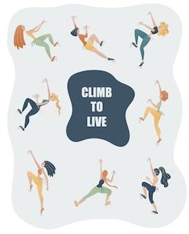 Mulheres jovens em roupas esportivas, escalando a parede. conjunto de meninas de escalada.