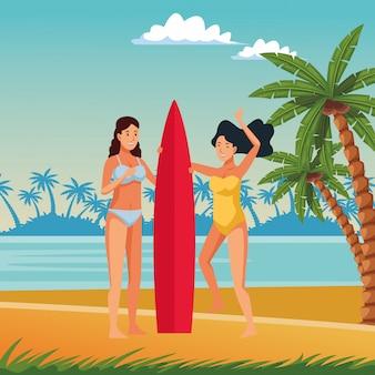 Mulheres jovens, em, verão, desenhos animados