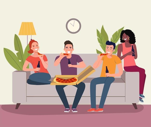 Mulheres jovens, homens sentados no sofá e comendo pizza na sala de estar. ilustração vetorial